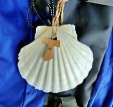 Pilgrim Scallop Shell - with Wooden Tau Cross - Camino de Santiago Pilgrimage