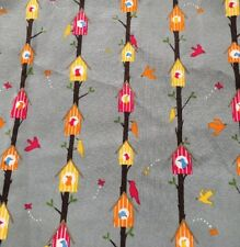 """FQ Grey With Orange Yellow Red Birds Houses FABRIC 100% COTTON Remnant 22"""" X 18"""""""