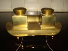 VINTAGE ART DECO BRASS FOOTED  DOUBLE INKWELL