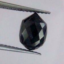3.24TCW NATURAL REAL BLACK COLOR PEAR SHAPE DIAMOND DRILLED BRIOLETTE BEAD