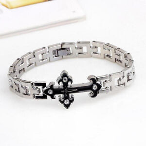 Mens Women Silver Stainless Steel Cross Bracelet Bangle Wristband Cuff Jewelry