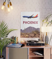 "Southwest Airlines 737 over Phoenix Art - 18"" x 24"" Poster"