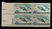 US Stamps, Scott #1079 Wildlife Conservation 3c Plate Block XF/Sup M/NH. Fresh.