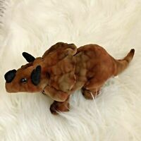 Dan Dee Triceratops Dino Dinosaur Plush Stuffed Toy Small Brown
