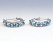 Beautiful Retro 925 Sterling Silver Earrings Hoop Blue CZ Bling Ice 4g Vintage