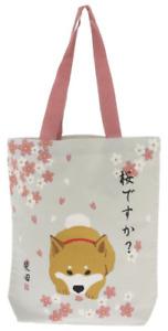 Kotobuki Japanese Student Women Shoulder Tote Bag Handbag Sakura Shiba Inu Dog