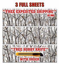 "3 CAMOUFLAGE VINYL DECAL 48"" x 15"" GLOSS TRUCK CAMO TREE PRINT PICKUP SNOW."
