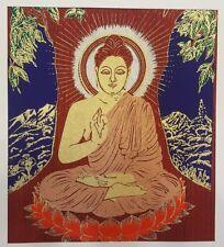 Lord Buddha Sat BODHI TREE Thai Art Silk Painting Poster Print Asian Home Decor