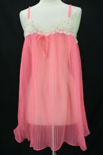 Vintage 60s Mini Babydoll Nightgown S/M Neon Hot Pink Pleated Chiffon Lace Trim
