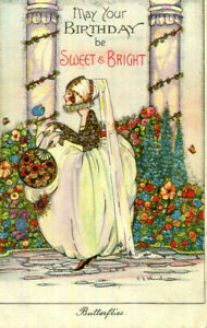 1927 postcard art deco Birthday greetings BUTTERFLIES by C E Shand