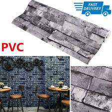 3D Slate Stone Brick Effect Wallpaper Washable PVC - Stone Sand Grey Waterproof