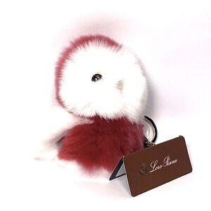 LORO PIANA Rabbit Fur Owl Bird Keychain Bag Charm Dark Pink (MSRP $575)