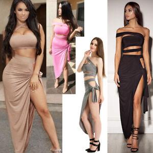 Ladies 2 PCs Set Evening Party Dress Multi Tie Crop Top Slinky Bardot Bodycon UK