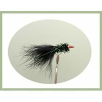 Trout Flies, Lures, 6 Pack, Black, Red Nosed Nomad, Size 10, Fishing Flies