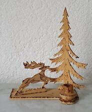 Stand Bois Erzgebirge Folklorique Chandelier Décoration de Noël Sapin Chevreuil