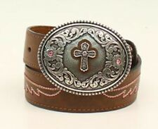 Sale! Ariat Kid's Brown Pink Cross Buckle Belt A1302202