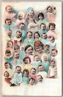 MULTIPLE BABIES LAUGHING 1908 ANTIQUE POSTCARD