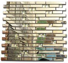 Mosaik Fliesen Metall Diamant Spiegel glänzend Effekt Mosaik Fliese Gold 30x30cm
