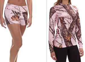 *SET* LOT OF 2 Terramar Sz L Pink Mossy Oak Camo Crew Shirt & Shorty Base Layer
