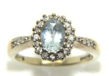 donna da donna 9ct 9 carati oro giallo con Diamante & TOPAZIO anello misura UK K