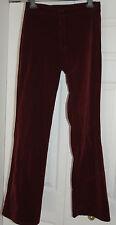 New 10 Red Herring Dark Maroon Wine Thick Velvet Flare boot cut Trouser Jeans
