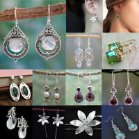 Women's 925 Silver Turquoise Moonstone Amethyst Earring Ear Drop Dangle Hook
