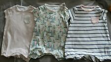 Next Baby Girls Set of 3 Summer Rompers Playsuits Pink Striped Boats 0-3 Months