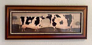 Warren Kimble Flats Collection Kissing Cows Americana Folk Art Wood Framed