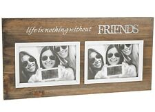 "Friends Double Photo Rustic Frame Holds Two 6"" x 4"" Landscape Photographs Boxed"