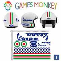 ADESIVI CASCO VESPA - Blu - Kit Strisce Bandiere Italia Cerchio Helmet VINILE