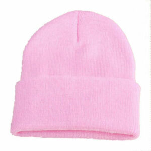 Unisex Ribbed Beanie Knit Ski Cap Skull Hat Warm Solid Color Winter Cuff Blank