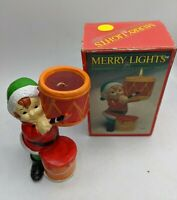 "MERRY LIGHTS CHRISTMAS CANDLE COLLECTION ELF CERAMIC HOLDER IN BOX VTG 6"" 1984"