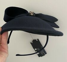 NEW M&S Collection winter felt fascinator Navy hat headpiece embellishment bow