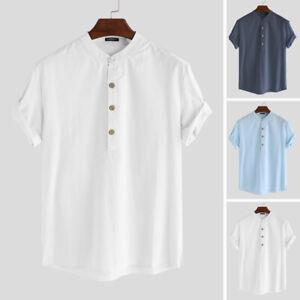 Mens Short Sleeve Cotton V Neck Linen Breathable Blouse Summer Beach Shirt Top