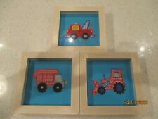 Three Handmade Nursery Pictures in Frames.Tractor, Lorry, Pick-up Truck. 17x17cm