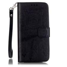 Phone Emboss Leather Wallet Card Case Cover For Samsung Galaxy 9H Tempered Glass