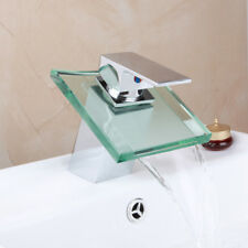Quartet Bathroom Waterfall Glass Spout Basin Faucet Vessel Sink Mixer Chrome Tap