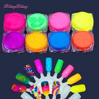 8PCS Nail Powder Neon Pigment Dust Ombre Glitter Gradient Iridescent Acrylic Art