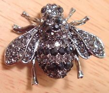 BLACK & HEMATITE FIERY RHINESTONES SILVER BROOCH BUMBLEBEE HONEY BEE INSECT PIN