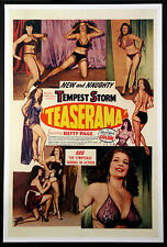 TEASERAMA TEMPEST STORM BETTIE PAGE STRIPTEASE EXPLOITATION 1955 1-SHEET