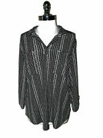 JONES NEW YORK Size XL Shirt Top Black White Studs 3/4th Sleeves