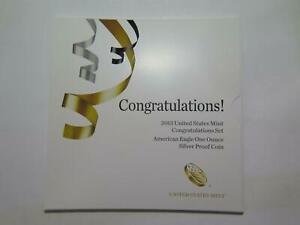 2013 W CONGRATULATIONS SET AMERICAN EAGLE SILVER PROOF COIN U.S. MINT ISSUE #X🌈