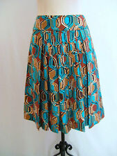 ETCETERA TURQUOISE BROWN MULTI SILK LINEN A-LINE SKIRT CHAINS size 0 NEW $165