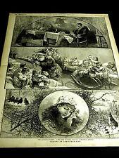Christmas SANTA CLAUS in HOSPITAL CHILDREN ROCKING HORSE DOLLS 1882 Large Print