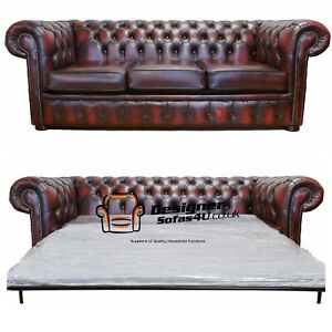Chesterfield 3 Seater Sofa Bed Antique Genuine 100% leather Handmade Sofa