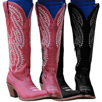 Womens Vintage Cowgirl Cowboy Boots Ladies Mid Wide Calf Mid Block Heesl Shoes