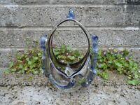 Vintage Murano glass basket - Fine quality bevelled foot Italian art glass