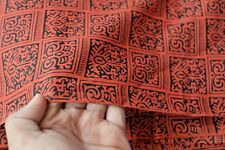 Indian 2.5 Yard Hand Block Print Red floral Cotton Craft Sewing Running Fabric