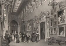 The Picture Gallery, Buckingham Palace. LONDON INTERIORS 1841 old print