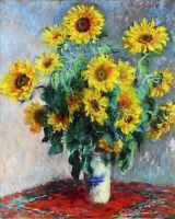 Still Life with Sunflowers by Claude Monet Giclee Fine Art Print Repro on Canvas